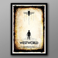 Line 'Em Up and Gun 'Em Down // Westworld Alternate Movie Poster // Puppet, Strings, Cowboy and Western Textures
