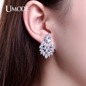 UMODE Sparkling Big Stud Earrings Fashion Jewelry White Gold Color Earrings for Woman Brincos de Festa Boucle D'oreille UE0245