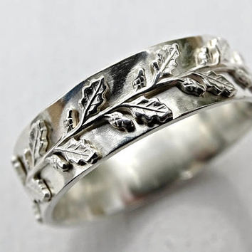 medieval wedding ring silver, fairy tale wedding band pagan, leaf engagement ring, oak leaf ring silver, silver twig ring, lace silver ring