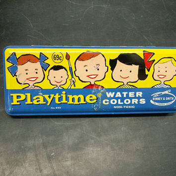 Vintage Playtime Watercolor Tin Retro Graphic Water Color Metal Box School Childrens Nursery Play Room Decor Collectible Art Supply Display