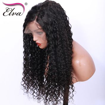 Elva Hair Curly Lace Front Human Hair Wigs Brazilian Remy Hair Lace Front Wig With Baby Hair Pre Plucked Natural Hairline 8-26''