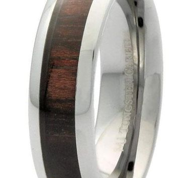 CERTIFIED  6mm 8mm Tungsten Carbide Wedding Band Dark Wood Inlay Ring