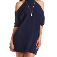 Three-Quarter Sleeve Cold Shoulder Dress by Charlotte Russe - Navy