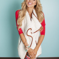 Brown Trim White Fur Vest