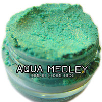 Aqua Medley SAMPLE SIZE Mini Jar Aqua Blue-Green Sky Ocean Blue Gold Copper Glitter Natural Mineral Eyeshadow Mica Pigment Lumikki Cosmetics
