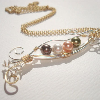 Peas in a Pod wire wrapped pendant - Customize & choose your colors -  Pearl necklace - Mom necklace - two tone