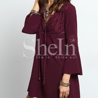 Bell Sleeve Tie Neck Lace Splicing Swing Dress