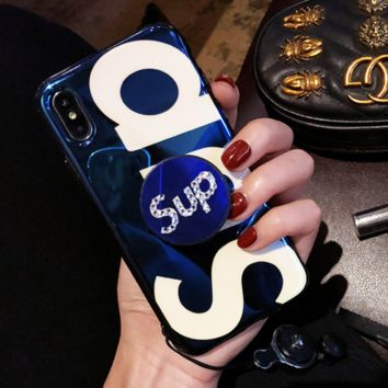 Supreme fashion new letter diamond women and men glass phone case phone case cover Blue