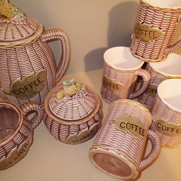 Tilso Japan Vintage Country rattan basket weave motif with fruit Coffee server set, Coffee pot, 6 mugs. sugar and creamer