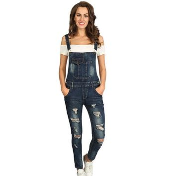 DCCKL3Z 2017 Summer Hole Jeans Denim Jumpsuit Overalls rompers women one piece jumpsuits sexy bodysuit salopette femme long pencil P0952