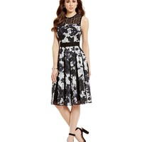 Antonio Melani Julia Printed Chiffon/Geo Lace Sleeveless Dress | Dillards