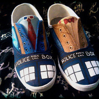 Hand Painted Shoes inspired by Doctor Who for Men,Women and Children