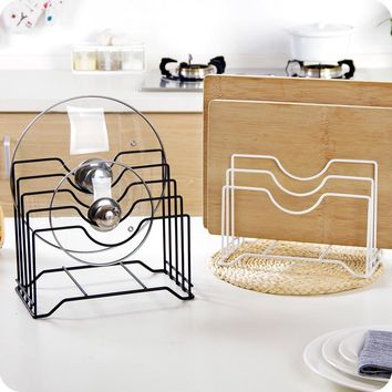 vanzlife Multifunctional iron pot rack shelves put lid shelf kitchen chopping board frame block storage rack