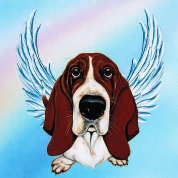 Basset Hound Angel - Basset Hound Art - Dog Portrait - Dog Angels - Guardian Angels - Pet Memorial - Rainbow Bridge - Weeze Mace - 8x10