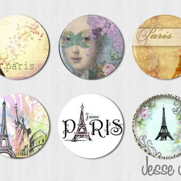 PARIS  set of 6 pin back buttons flatbacks or by jessejanes