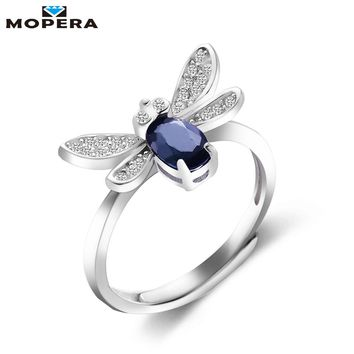 Mopera 925 Sterling-silver-jewelry Insecct Bee Ring 4x6mm 0.72ct 100% Natural Sapphire Rings For Women Wedding Fine Jewelry S925