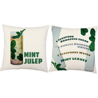 Set of 2 Mint Julep Throw Pillows - Cocktail Print Pillow Covers and or Cushion Inserts - Mint Julep Print, Southern Pillows, Drink Recipe