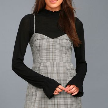 Honor Roll Grey Plaid Dress