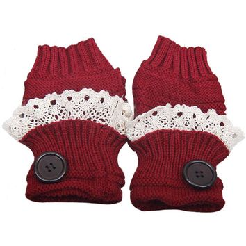 women Button lace gloves Wool cotton Driving Ladies Lace Thicken Knit Gloves female cute Mittens Warm Fingerless Gloves 16*9cm