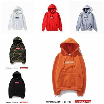 Supreme Men's casual hooded sweater sweater men and women lovers loose
