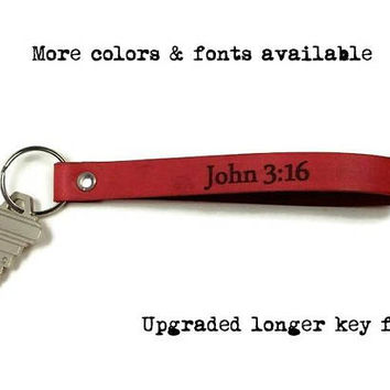 Personalized Key Fob, Leather Keychain, Scripture Key Fob, Bible Verse Key Chain, Personalised Keychain, Custom Keychain, Gifts Under 15