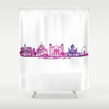Helsinki skyline purple Shower Curtain by Jbjart