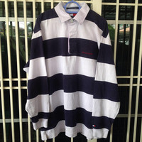 Vintage 90s Tommy Hilfiger polo shirt rugby style colour block Medium size