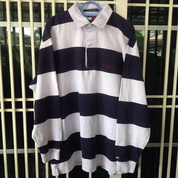 636bb080 Vintage 90s Tommy Hilfiger polo shirt rugby style colour block Medium size