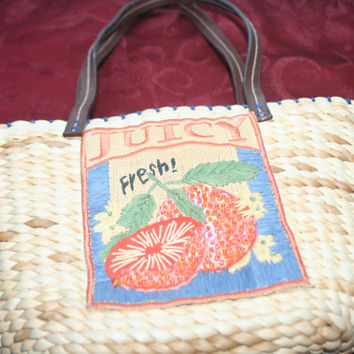 Vintage  Wicker Woven Handbag with Leather Strap