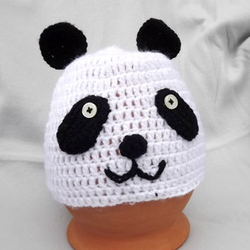 Crochet panda hat, Halloween hat, Halloween, Pnda hat, animal hat, crochet baby hat