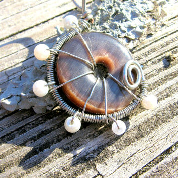 Spiral Purple Cats Eye and Pearl Pendant
