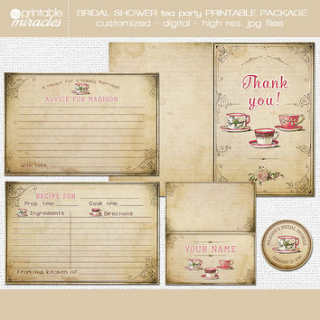 Rustic bridal shower tea party stationary set, Vintage inspired bridal tea recipe card, Tea theme party, Bridal shower printables