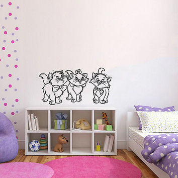 Wall Mural Vinyl Sticker Decal    three kitten friends bows DA1395