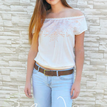 """Cowboy Take Me Away""  Off the Shoulder Top-White/Peach"