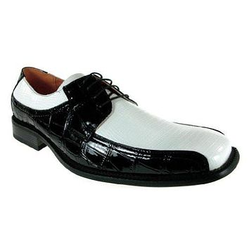 Ferro Aldo Men's 109216 Faux Alligator Lace Up Oxfords Shoes Black