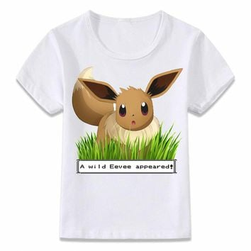 Kids Clothes T Shirt A Wild Eevee Appears In The Wild  T-shirt for Boys and Girls Toddler Shirts TeeKawaii Pokemon go  AT_89_9