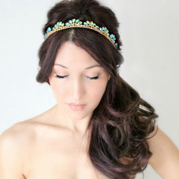 Bridal Headband Art Deco style Blue Peacock Rhinestone by deLoop