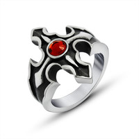 The new Flame ruby ring men and women with the cross tide restoring ancient ways the