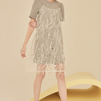 Mesh T Shirt Dress Two Pieces Dress-White*Gray