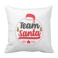 Cute Team Santa Pillow Modern Script