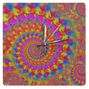 Pink Crazy Fractal Square Wall Clocks from Zazzle.com