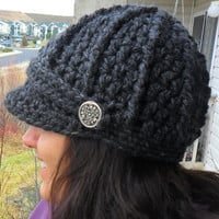 Newsboy Cap with Buttons  Charcoal  Made to by SoLaynaInspirations