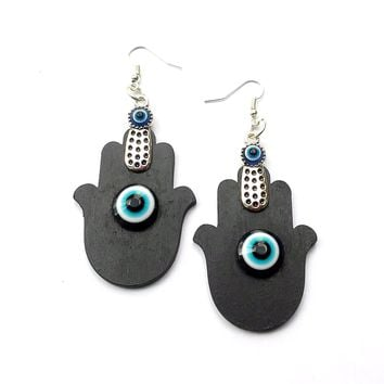 Hand painted Hamsa evil eye wood dangle earrings