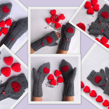 Capped Fingerless Gloves  Cozy and Warm Winter Knit Gloves Mittens Fingerless Gloves Crochet Fashion Accessories Gifts For Her FORMALHOUSE