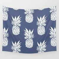 Pineapple Blues Wall Tapestry by allisone