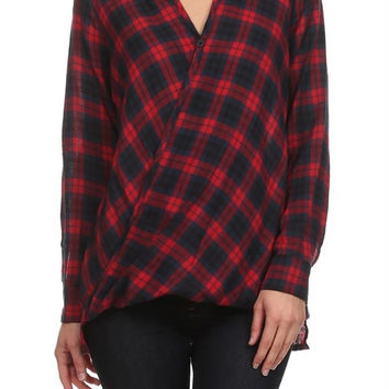 Red Plaid Shirt w/ Cross Front