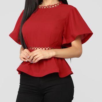 Ruffle Sleeve Peplum Top in Red