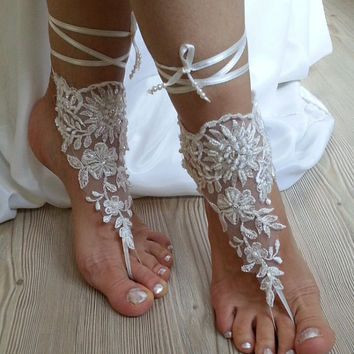 Beach shoes, bridal sandals, lariat sandals, wedding bridal, ivory accessories, wedding shoes, summer wear, handmade