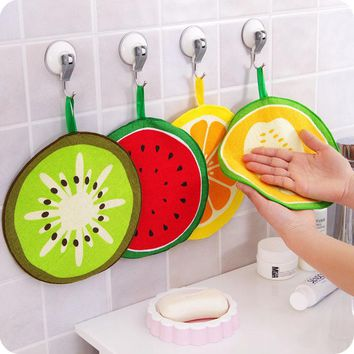 1Pcs Fruit hand towel dish dry cloth candy color Cartoon design Pattern Absorbent Kitchen with Hanging Bathroom Use