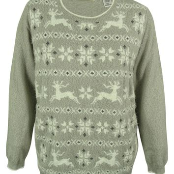 Alfred Dunner Women's Reindeer Fair Isle Sweater
